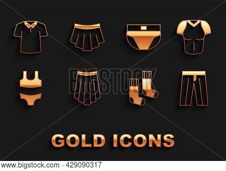 Set Skirt, T-shirt, Pants, Socks, Swimsuit, Men Underpants, Shirt And Icon. Vector