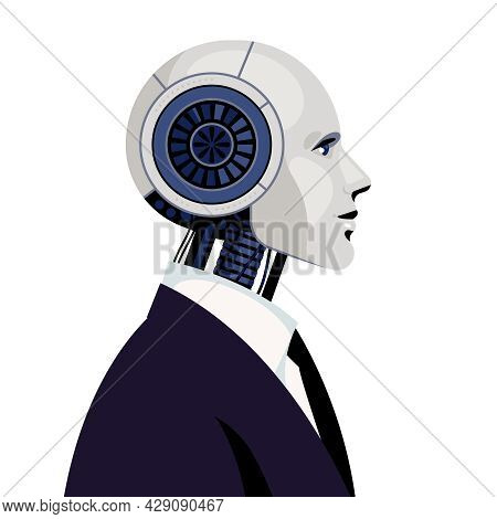 Cyborg. Male Robot In Black Business Suit. Concept Of Robotization, The Replacement Of Human Labor.