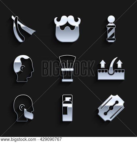 Set Shaving Brush, Gel Foam, Blade Razor, Human Hair Follicle, Mustache And Beard, Baldness, Classic