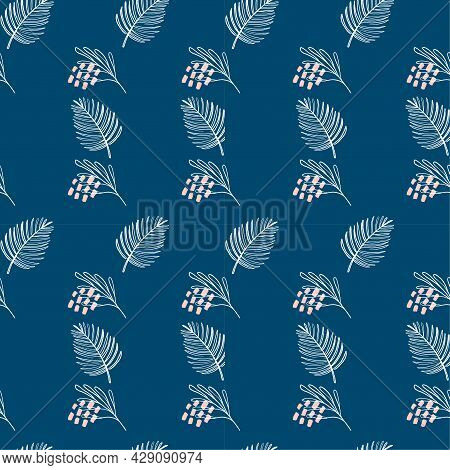 Seamless Tropical Pattern With Exotic Plants Silhouettes On Navy Blue Background. Monochrome Vector