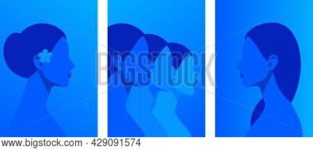 Collection Of Contemporary Art Posters - Abstract Female Faces, Heads, Shoulders. Abstract Blue Silh