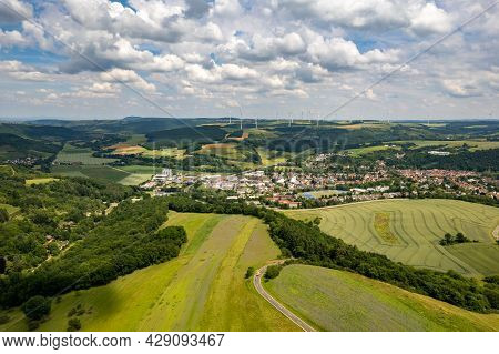 Aerial View Of A Landscape In Rhineland-palatinate, Germany On The River Glan With The Town Of Meise