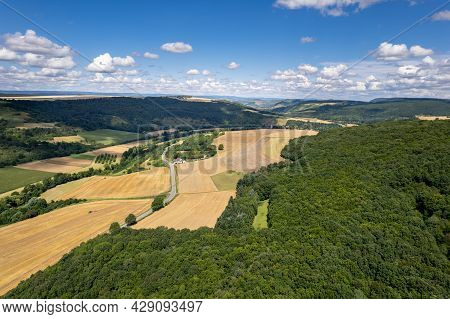 Aerial View Of A Landscape In Rhineland-palatinate, Germany On The River Glan