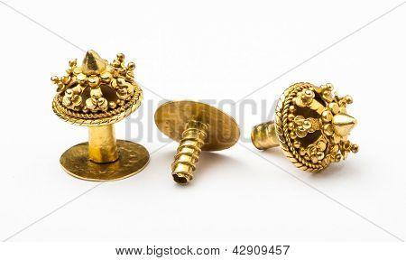 Antique Golden Earrings In Lanna-burmese Style