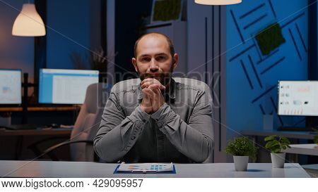 Pov Of Exhausted Businessman Discussing With Remotely Colleague Working At Financial Digital Project