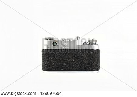 Moscow, Russia, August 07, 2021. The Old Soviet 35 Mm Film Rangefinder Camera Fed-3, Released 1963 O