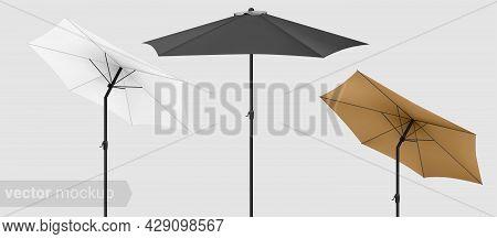 Beach Sunshade Mockup. Seashore Pool Hotel, Sun Protecting Parasol. 3d Realistic Mockup Design.