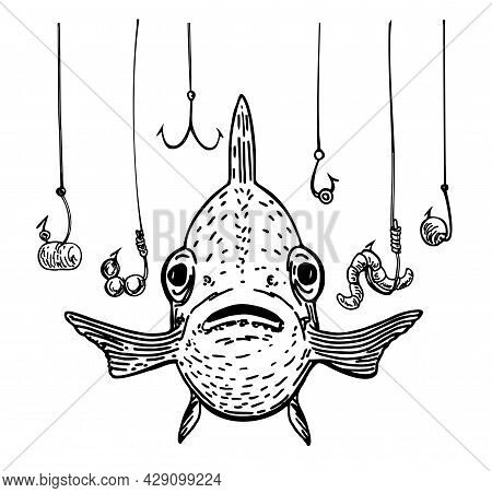 Fish And A Lot Of Fish Hooks. Hand Drawn Fishing Symbol. The Metaphor That The Fish Is In Danger Amo