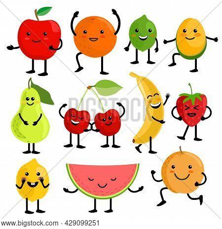 Fruits For Kids. Cute Fruit Characters Vector Illustration, Healthy Juice Cartoon Kawaii Summer Frui