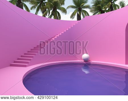 Surreal art design with stairs and pool in pink colors, palms and harmony, 3D illustration, rendering.