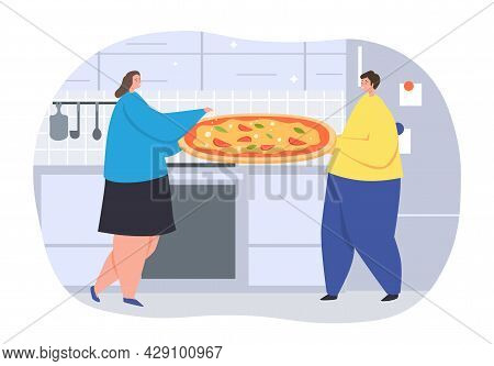 Family Cooking Pizza Concept. Male Character Is Holding Large Tray With Appetizing Snack. Woman Adds