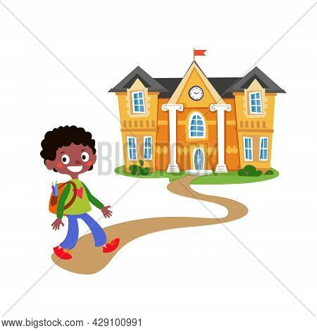 Schoolboy Black Boy With A Backpack And Textbooks Goes On The Road To School. Vector Illustration In