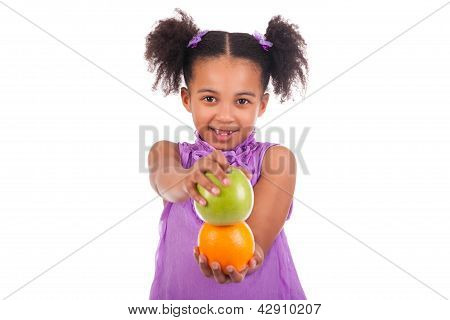 Little African Girl With Fruit