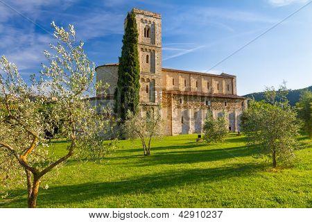 Sant Antimo Abbey Near Montalcino, Tuscany, Italy