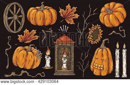 Halloween Set Of Holiday Elements For Spooky Mystery Graphic Design Of Evil Horror Party. Fear Pumki