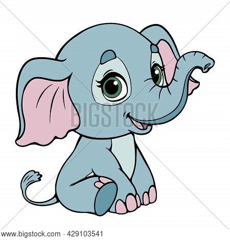 Cute Baby Elephant Sitting And Smiling. Line Color Drawing. Blue Elephant Isolate On A White Backgro
