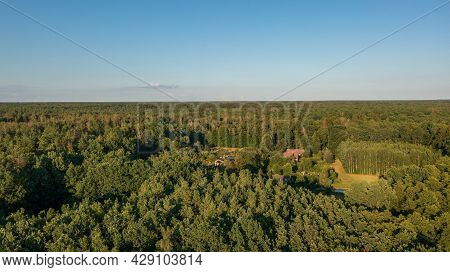 Polish Part Of Bialowieza Forest To East With Sacharewo Settlement Aerial View, Podlaskie Voivodeshi