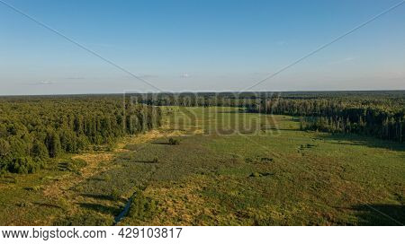 Lesna River Valley To East In Sunset Aerial, Bialowieza Forest, Poland, Europe