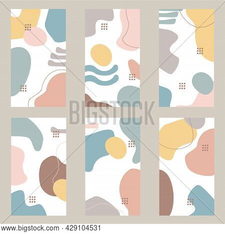 Organic Shapes Abstract Background For Social Media, Highlights, Posts, Stories. Creative Minimal Tr