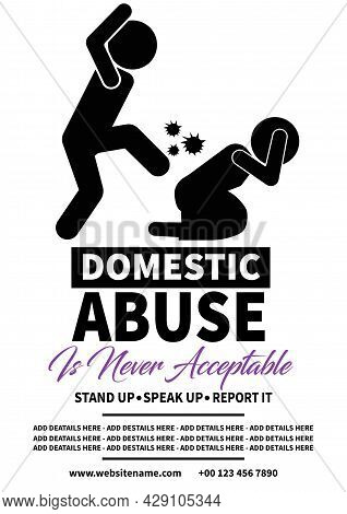 Domestic Abuse Poster Flyer Social Media Post Template Design