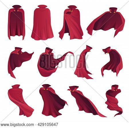 Collection Superhero Red Cape Vector Apparel Fairy Character Mantle Costume, Magic Cover, Cloak