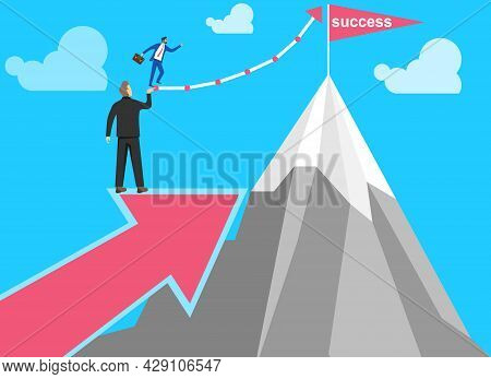 Climbing The Career Ladder. A Man In A Business Suit Is Climbing The Career Ladder. Vector Illustrat