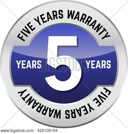 Five Years Warranty Shiny Button. Bright Metal Shiny Circular Button With Words Five Year Warranty O