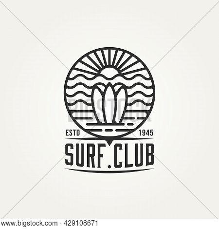 Surfing Minimalist Line Art Logo Badge Template Vector Illustration Design. Simple Modern Surf Club,