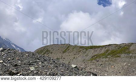Beautiful Mountain Landscape Of North Ossetia. Mountains, Rocks, Hills, Kurumnik. Climbing Kazbek Fr