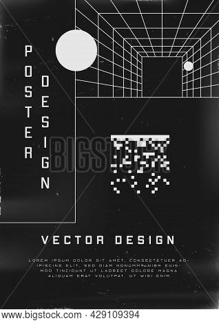 Retrofuturistic Poster Design. Cyberpunk 80s Style Poster With Perspective Tunnel And Pixel 8bit Squ