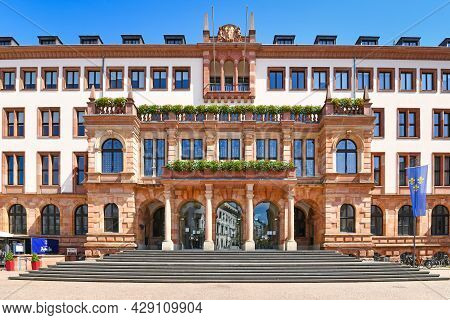 Wiesbaden, Germany - July 2021: Entrance Of City Hall Called 'new Town Hall' On Sunny Day