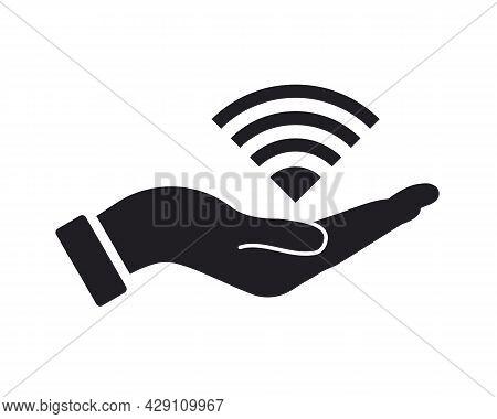 Hand Wifi Logo Design. Wifi Logo With Hand Concept Vector. Hand And Wifi Logo Design
