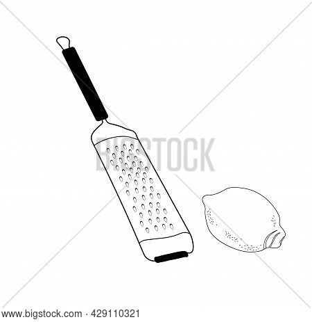 Cheese Grater Vector Stock Illustration. A Kitchen Tool. Rub The Lemon Zest. Isolated On A White Bac