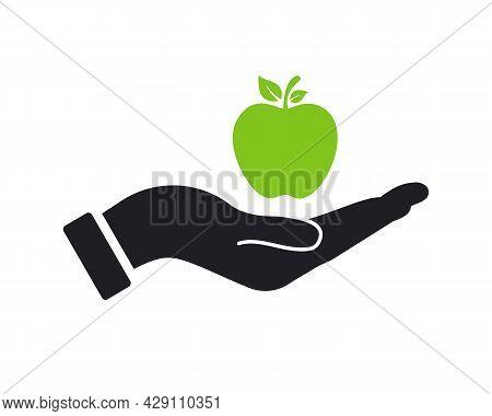 Hand Apple Logo Design. Apple Logo With Hand Concept Vector. Hand And Apple Logo Design