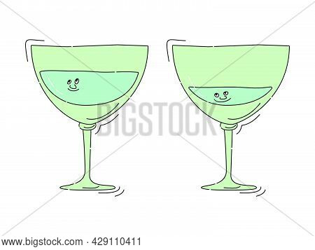 Vermouth Glassware With Smile Face On White Background. Cartoon Sketch Graphic Design. Doodle Style