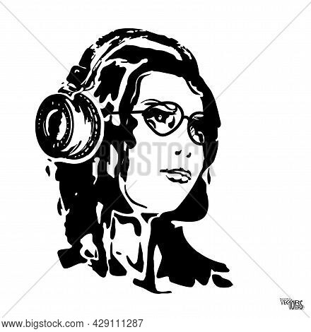Young Girl In Headphone, Sketch, Beautiful Imitation Engraving. Female Silhouette Isolated On White.