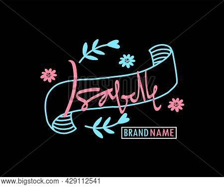 Isabelle's Maiden Name Decorative Handwritten Design, For Labels, Brands, Store Names, Fashion