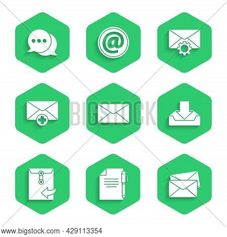 Set Envelope, Document And Pen, Download Inbox, Received Message Concept, Setting And Speech Bubble