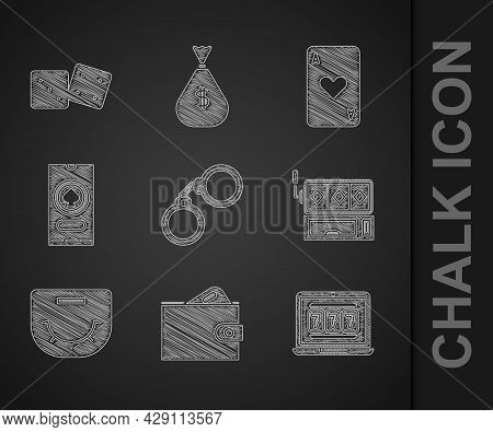 Set Handcuffs, Wallet With Money, Laptop Slot Machine, Slot, Poker Table, Casino Poker Tournament In
