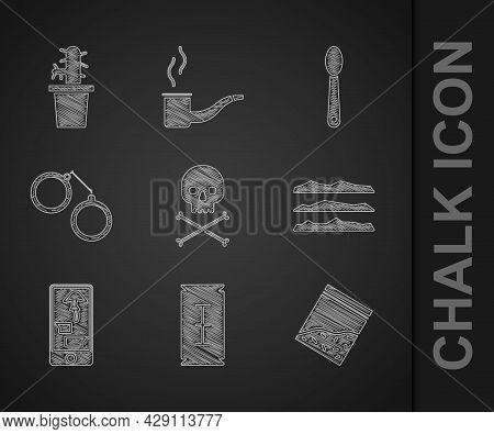 Set Skull On Crossbones, Blade Razor, Plastic Bag Of Drug, Cocaine Heroin, Buying Drugs Online Phone