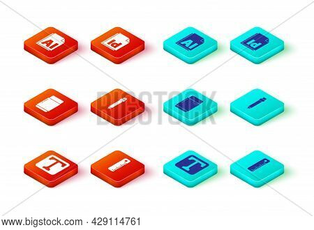 Set Text, Ruler, Eraser Or Rubber, Pencil With Eraser, Id File Document And Ai File Icon. Vector