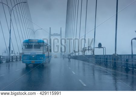Howrah, West Bengal, India - 25th September 2019 : Image Shot Through Raindrops Falling On Car Winds