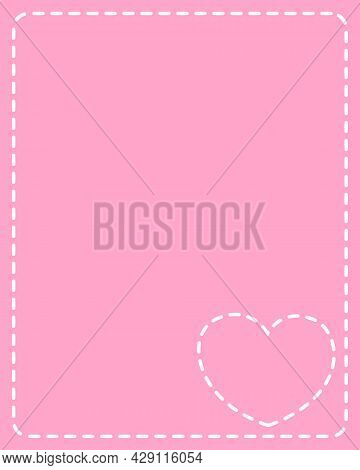 Pink Frame With White Stitches Heart Design Template For Valentine Card.