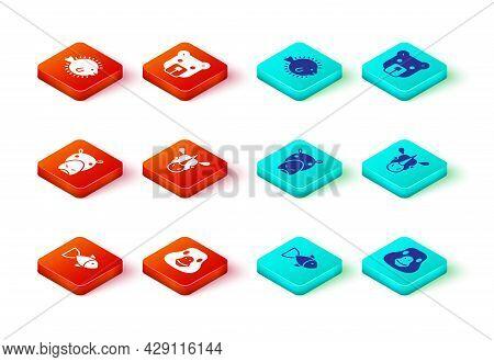 Set Fish, Goose Bird, Hippo Or Hippopotamus, Rhinoceros, Bear Head And Puffer Fish Icon. Vector