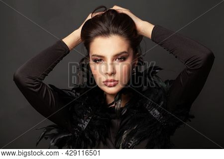 Perfect Sexy Woman In Black Glam Gown On Black