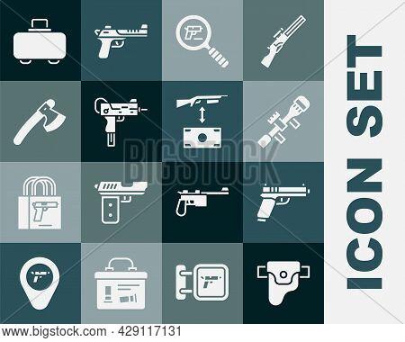 Set Gun In Holster, Pistol Or Gun, Sniper Optical Sight, Search, Uzi Submachine, Wooden Axe, Weapon
