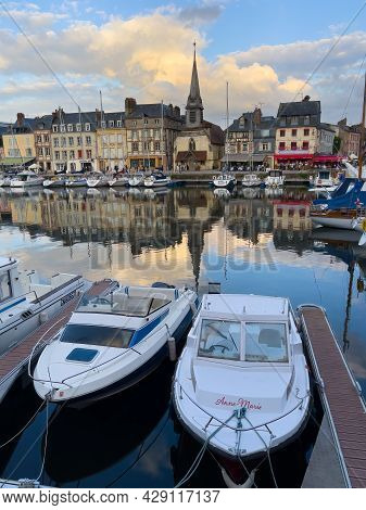 Honfleur, France - July 28, 2021: Honfleur Is A French Commune In The Calvados Department And Famous