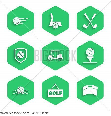 Set Golf Car, Label, Sun Visor Cap, Ball On Tee, In Water, With Shield, Crossed Golf Club And Icon.