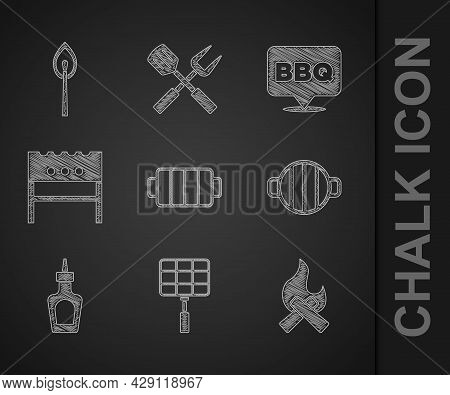 Set Barbecue Grill, Steel Grid, Campfire, Sauce Bottle, Bbq Brazier, And Burning Match With Icon. Ve