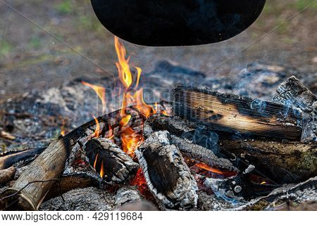Burning Firewood, Glowing Logs, Fire And Flames Closeup Photo, Burning Wood For A Barbecue